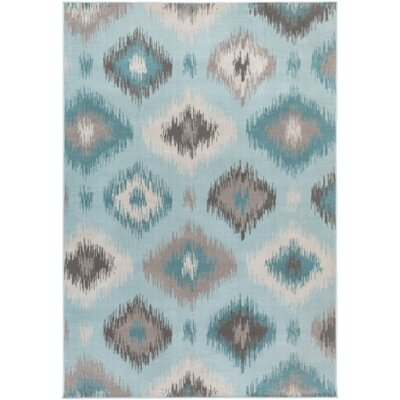 Septfontaines Teal & Beige Area Rug Rug Size: 5'4