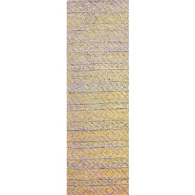 Glass Hand-Woven Beige Area Rug Rug Size: Runner 26 x 8