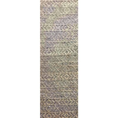 Glass Hand-Woven Gray Area Rug Rug Size: Runner 26 x 8