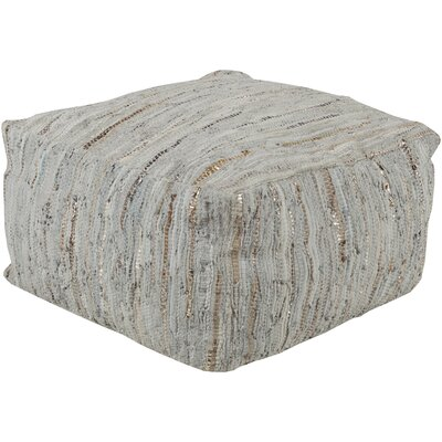 Anthracite Leather Pouf Upholstery: Light Gray