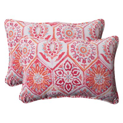 Zutphen Corded Indoor/Outdoor or Outdoor Lumbar Pillow Color: Pink / Orange / Turquoise / White, Size: 5
