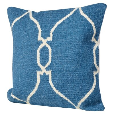 Cosima Geometric Wool Throw Pillow Size: 22 H x 22 H x 4 D, Color: Blue / Ivory, Filler: Down