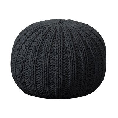 Gilmour Hand Knitted Traditional Pouf Ottoman Upholstery: Charcoal