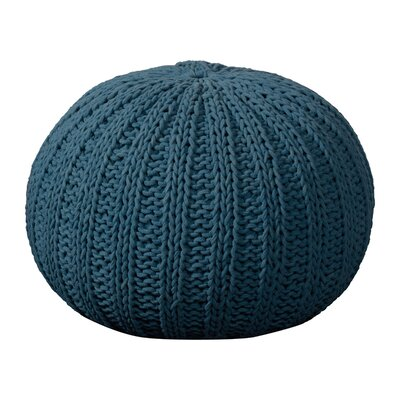 Canala Hand Knitted Traditional Pouf Ottoman Upholstery: Legion Blue