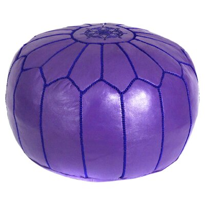 Mouassine Pouf Leather Ottoman Upholstery: Purple