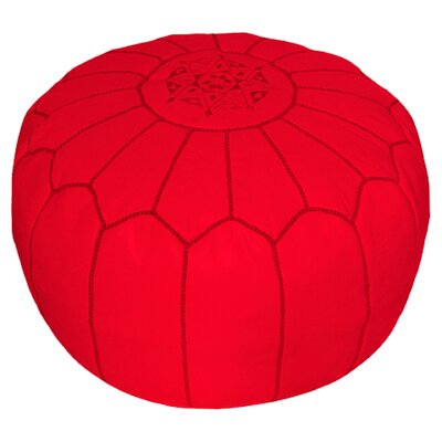 Carolos Pouf Leather Ottoman Upholstery: Red