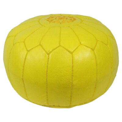Mouassine Pouf Leather Ottoman Upholstery: Yellow