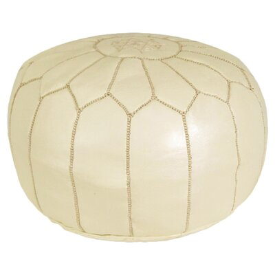 Carolos Pouf Leather Ottoman Upholstery: Cream
