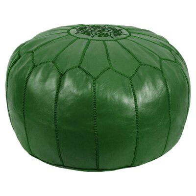 Mouassine Pouf Leather Ottoman Upholstery: Dark Green
