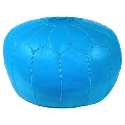 Mouassine Pouf Leather Ottoman Upholstery: Blue