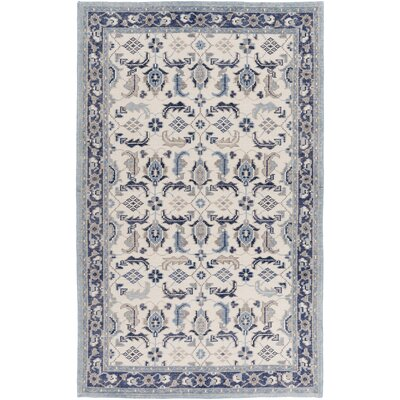 Heerhugowaard Hand-Knotted Blue/Gray Area Rug Rug Size: Rectangle 36 x 56