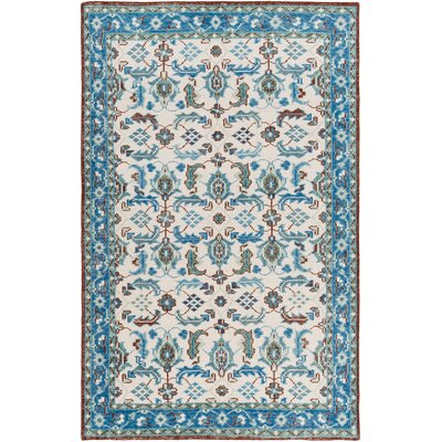 Heerhugowaard Hand-Knotted Blue Foam Area Rug Rug Size: Rectangle 5'6