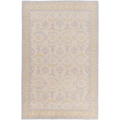 Heerhugowaard Hand-Knotted Beige/Purple Area Rug Rug Size: Rectangle 36 x 56