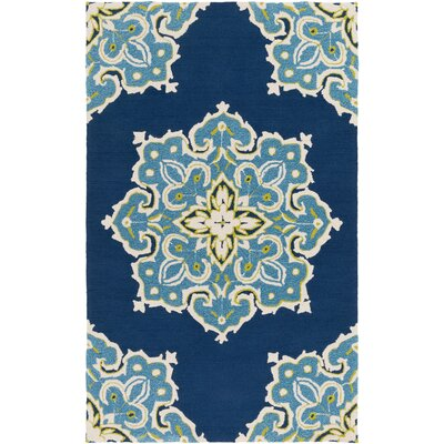 Iona Hand-Hooked Blue Indoor/Outdoor Area Rug Rug Size: Rectangle 5 x 76