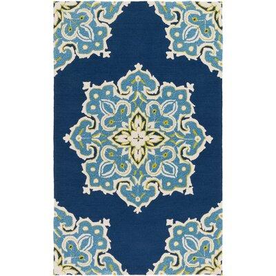 Den Helder Hand-Hooked Blue Indoor/Outdoor Area Rug Rug Size: 5' x 7'6