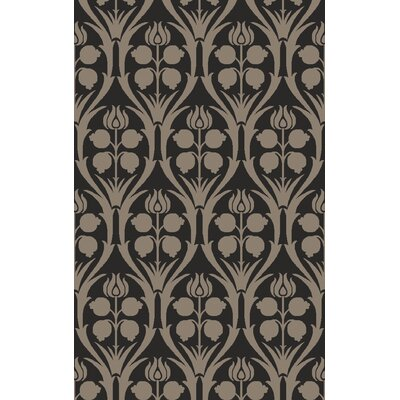 Georgina Hand-Hooked Black/Gray Area Rug Rug Size: Rectangle 6 x 9