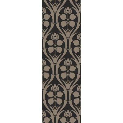 Georgina Hand-Hooked Black/Gray Area Rug Rug Size: Runner 26 x 8