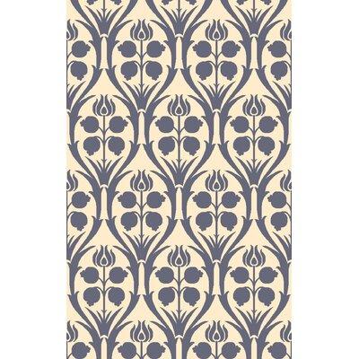 Georgina Hand-Hooked Blue/Beige Wool Area Rug Rug Size: 4 x 6