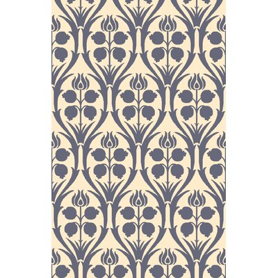 Georgina Hand-Hooked Blue/Beige Wool Area Rug Rug Size: 6 x 9