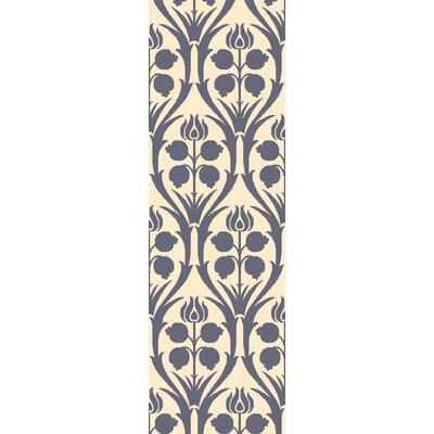 Georgina Hand-Hooked Blue/Beige Wool Area Rug Rug Size: Runner 26 x 8