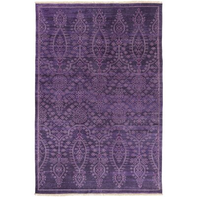 Heerlen Hand-Knotted Purple Area Rug Rug Size: 56 x 86