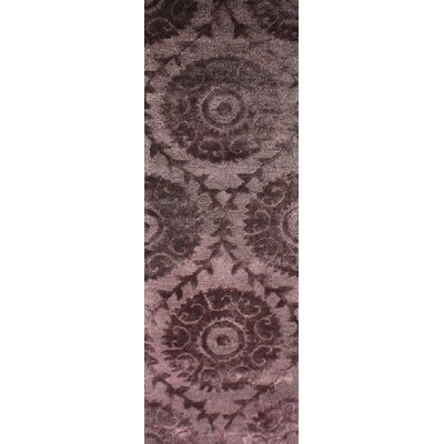 Oss Hand Tufted Synthetic/Wool Purple Area Rug Rug Size: Runner 26 x 8