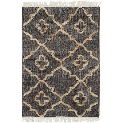 Garvin Hand-Woven Black/Beige Area Rug Rug Size: Rectangle 2 x 3