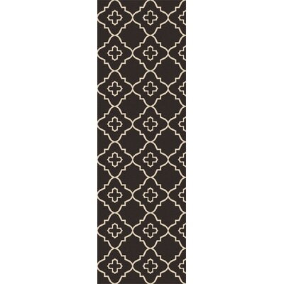 Garvin Hand-Woven Black/Beige Area Rug Rug Size: Runner 26 x 8