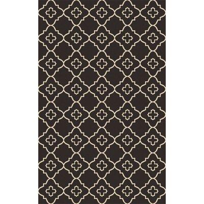 Garvin Hand-Woven Black/Beige Area Rug Rug Size: 6 x 9