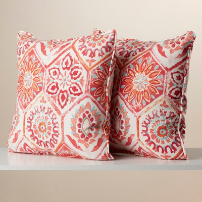 Zutphen Corded Indoor/Outdoor Throw Pillow Color: Pink / Orange / Turquoise / White