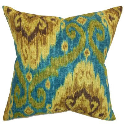 Bettembourg Ikat Cotton Throw Cushion Color: Peacock, Size: 18
