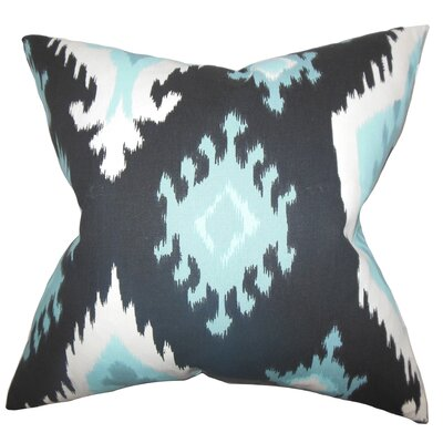 Emmitt Ikat Cotton Throw Pillow Color: Blue, Size: 18 H x 18 W