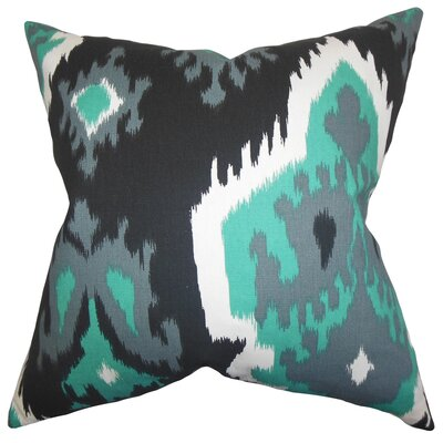 Frisange Ikat Cotton Throw Pillow Color: Gray, Size: 18 H x 18 W