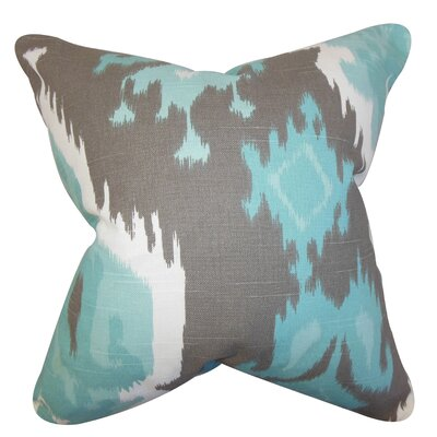 Frisange Ikat Cotton Throw Pillow Color: Blue Gray, Size: 20 H x 20 W