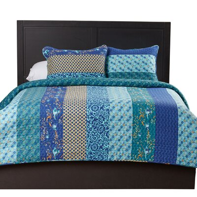 Somerton Cotton 3 Piece Coverlet Set Size: Full / Queen, Color: Peacock