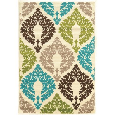 Klong Damask Turquoise/Cream Area Rug Rug Size: Rectangle 5 x 7