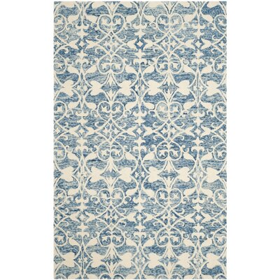Greenmarket Hand-Tufted Dark Blue/Ivory Area Rug Rug Size: 2 x 3