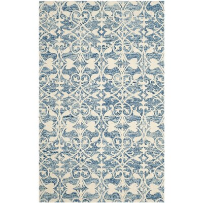 Greenmarket Hand-Tufted Dark Blue/Ivory Area Rug Rug Size: 4' x 6'