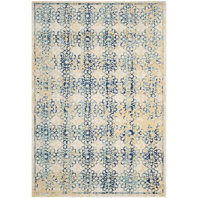 Elson Rectangle Ivory/Blue Area Rug Rug Size: 51 x 76