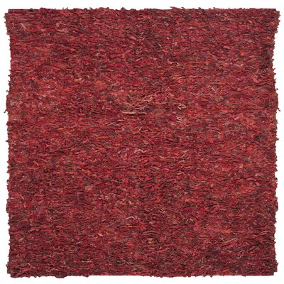 Schaefer Hand-Knotted Red Shag Area Rug Rug Size: Square 6 x 6
