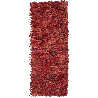 Schaefer Hand-Knotted Red Shag Area Rug Rug Size: Runner 23 x 6