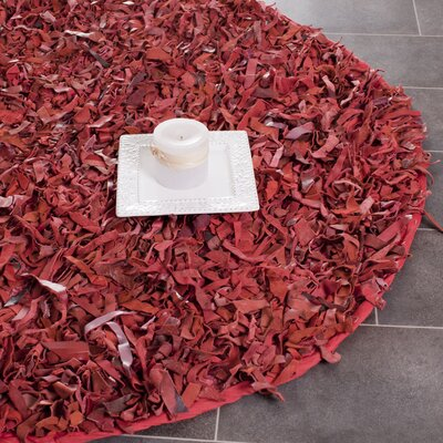 Damnoen Hand-Knotted Red Shag Area Rug Rug Size: Round 4' x 4'