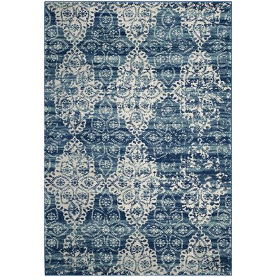 Elson Rectangle Royal/Ivory Area Rug Rug Size: Rectangle 67 x 9