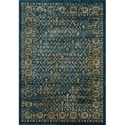 Schneider Navy/Gold Area Rug Rug Size: Rectangle 10 X 14