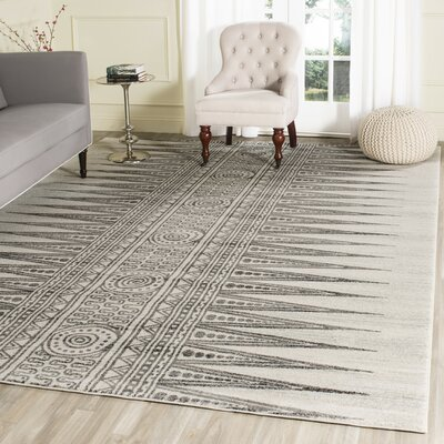 Elson Ivory/Gray Area Rug Rug Size: Rectangle 10 x 14
