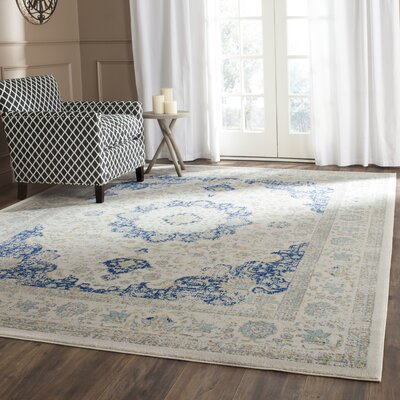 Ameesha Ivory/Blue Area Rug Rug Size: Square 9