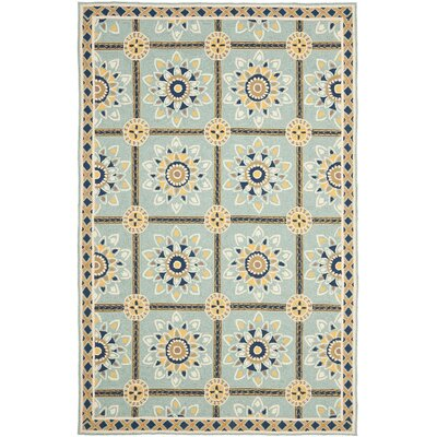 Istanbul Hand-Hooked Light Blue/Dark Blue Area Rug Rug Size: 8 x 10