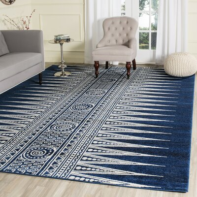 Ameesha Royal/Ivory Area Rug Rug Size: Square 67