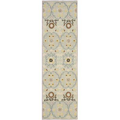 Pazar Hand-Hooked Light Blue/Ivory Area Rug Rug Size: Runner 26 x 8