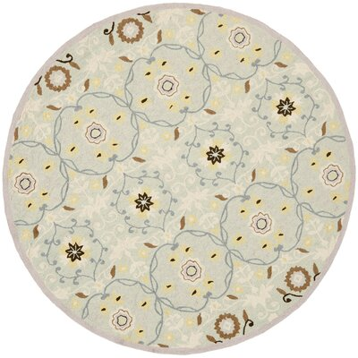 Pazar Hand-Hooked Light Blue/Ivory Area Rug